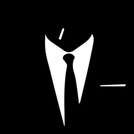 Silhouette of a man in a business suit and a tie with a cigarette. Vector black and white illustration. Ilustração