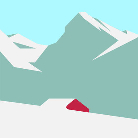 Snowy mountain landscape with a lone red house. Vector illustration.