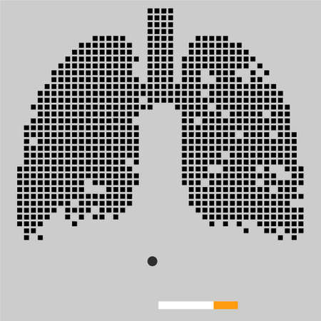 Destruction of lungs under the influence of cigarettes. Vector illustration. Black checkered lungs on a grey background.