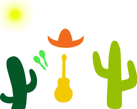 Set from a guitar, maracases, cactuses and sombreros isolated on a white background. Vector illustration. Mexico
