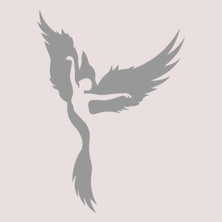 Das Mädchen verwandelt sich in einen Vogel. Vektorillustration. Der Tänzer verkörpert das Bild eines Vogels.