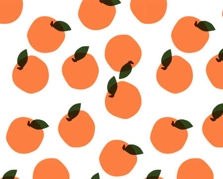 Seamless pattern with fruits on white background. Oranges, peaches, apricots. Vector illustration