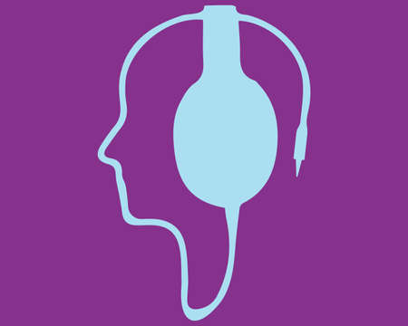 A contour of the human face from the wire from the headphones. Bright  illustration. Blue headphones on a purple background.