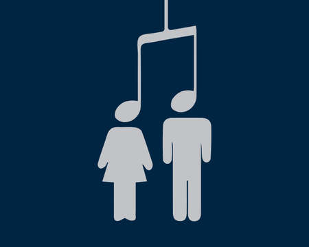 An image of a note on the ends of which are silhouettes of a man and a woman. Vector illustration. Music unites people. Иллюстрация