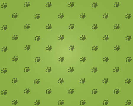 Green background with cats pads.  illustration Stock Photo