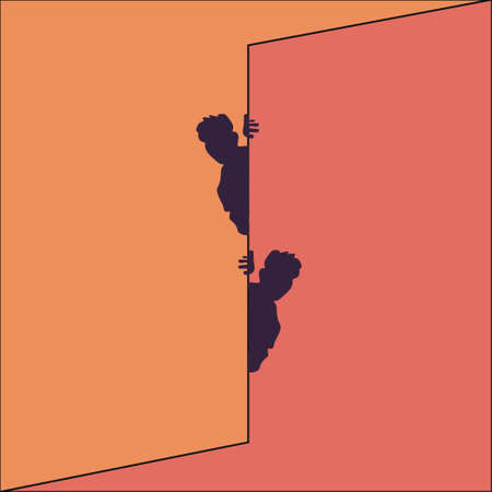 Optical illusion, two men peek out from behind the wall. Bright vector illustration. Иллюстрация