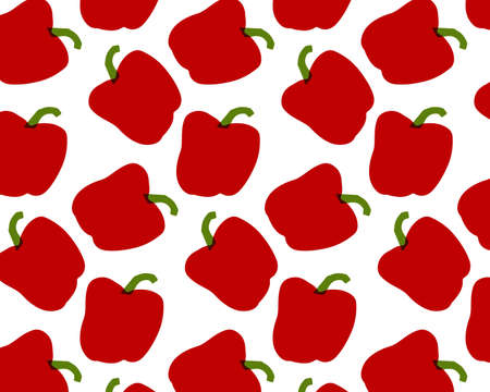Seamless pattern of peppers. Vector illustration. Food wallpapers from vegetables.