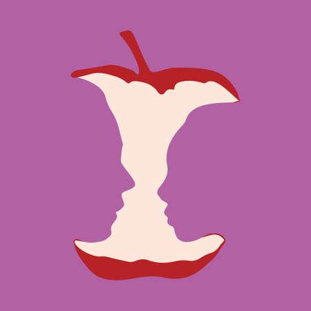 Sagome di un uomo e una donna in un moncone di mela rossa. Illustrazione vettoriale su uno sfondo viola. Illusione Ottica.