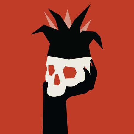 Skull in a clown hood on a woman s hand. Vector illustration on a bright red background.