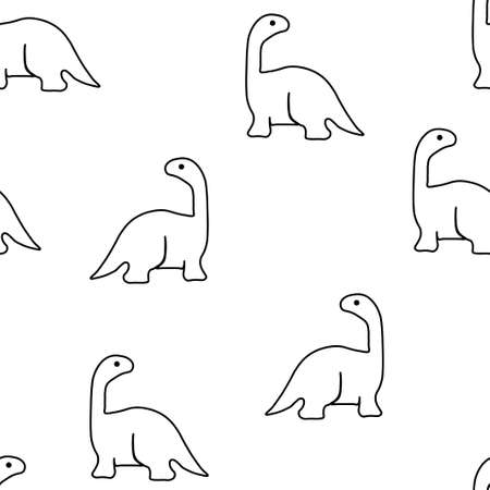 Seamless pattern from brachiosaurs. Vector illustration. Isolated on a white background. 向量圖像