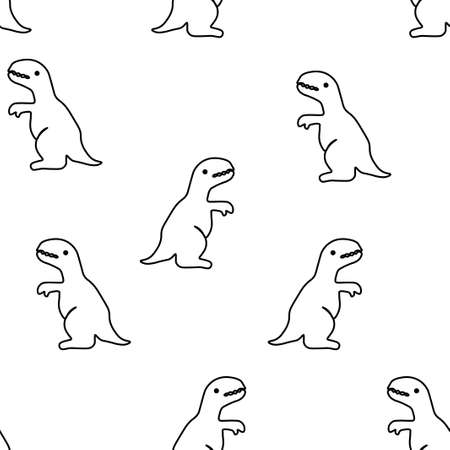 Seamless pattern from tyrannosaurus. Vector illustration. Isolated on a white background. 矢量图像