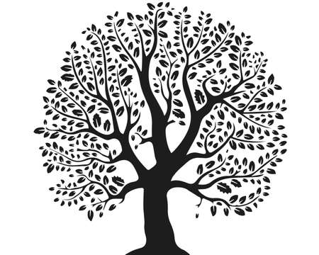 Fantastic tree.  illustration of a tree. Isolated on a white background. Stock Photo
