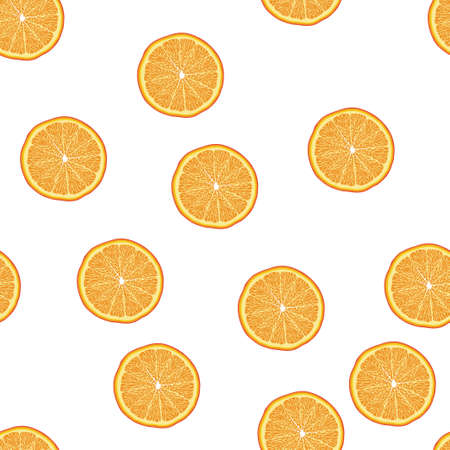 Seamless pattern from slices of orange. Vector illustration. Food wallpapers from citrus fruit.