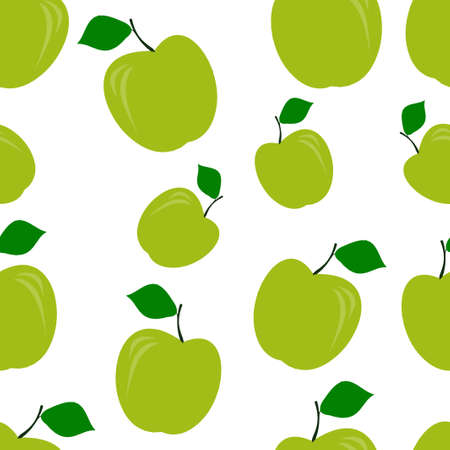Seamless pattern of green apples. Vector illustration. Food wallpapers from fruit.