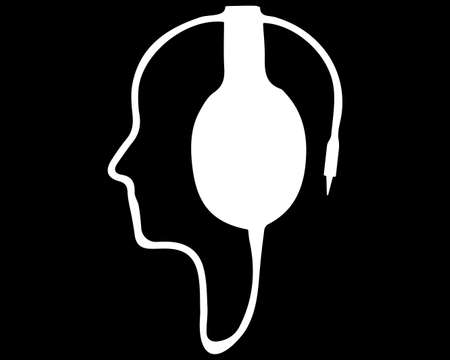 A contour of the human face from the wire from the headphones. Vector illustration. White headphones on a black background.
