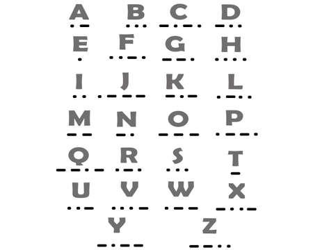 ABC alphabet Morse. Vector illustration. Isolated on white background 向量圖像