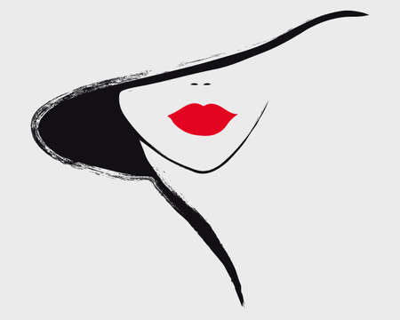 A stylish portrait of a girl whose eyes are covered with a hat.  illustration in 3 colors: red, black, white. Stok Fotoğraf