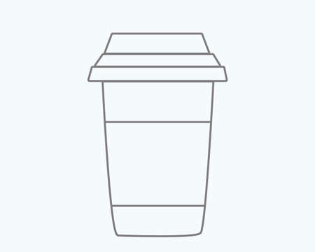 Glass of coffee. Simple  illustration. Black-and-white picture.
