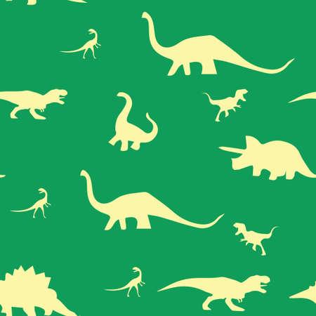 Dinosaur silhouette pattern seamless. Vector illustration. Beige dinosaurs on green background.