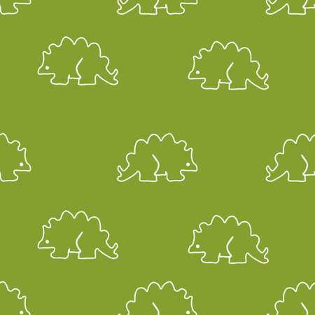 Dinosaur stegosaurus pattern seamless. Vector illustration. Green background.