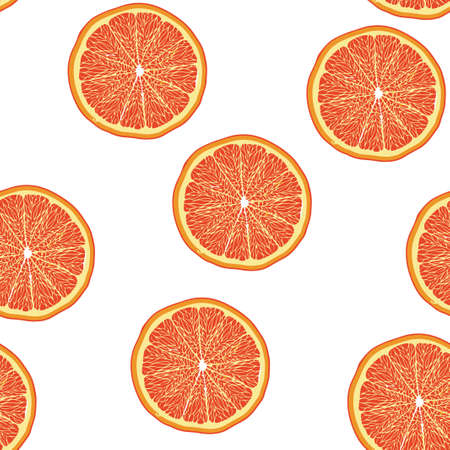 Grapefruit slice pattern seamless. Vector illustration. Food wallpapers from citrus fruit. Illustration