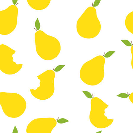Seamless pattern of yellow pears. Vector illustration. Food wallpapers from fruit.