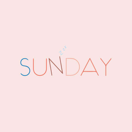 Sunday Beautiful lettering. Vector illustration of the text. Gentle pink background. 向量圖像