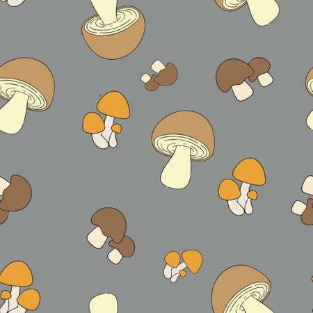 Edible mushrooms pattern seamless. Vector illustration. Brown and orange mushrooms on gray background. Pantone colors.