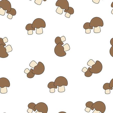 Mushroom porcini pattern seamless. Vector illustration. Brown mushrooms isolated on white background.