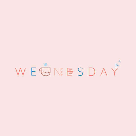 Wednesday Beautiful lettering. Vector illustration of the text. Gentle pink background. Illustration