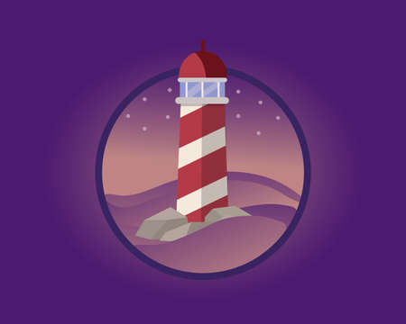 A lone lighthouse in the night.  illustration.