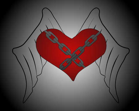 Winged heart with chains.  illustration. Heart on a gray background with a circular gradient from white to black.