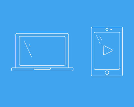 Laptop and tablet. Vector illustration. Set of the technology