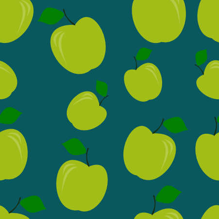 Green apple pattern seamless. Vector illustration. Food wallpapers from fruit. Pantone color.