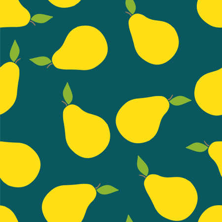 Pears pattern seamless. Vector illustration. Food wallpapers from fruit. Pantone colors.