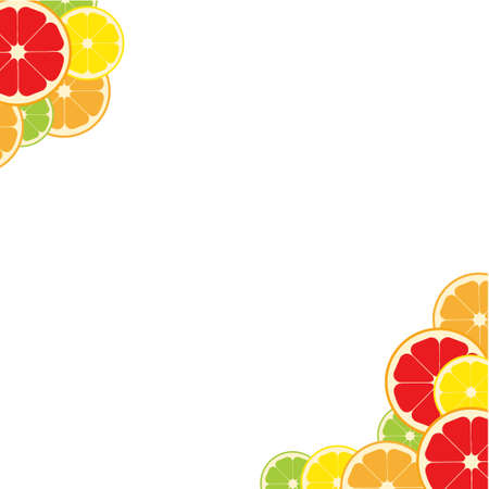 Frame citrus fruits angle. Lemon, lime, orange grapefruit. Vector illustration Illustration