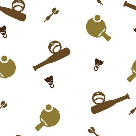 Sport games pattern seamless. Baseball, tennis, badminton, darts. Vector illustration. Isolated white background. Illustration