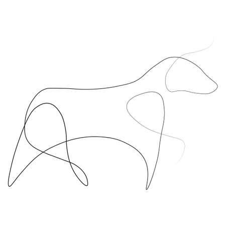 Bull one line. Vector illustration. Isolated white background.