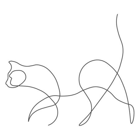 Cat animal one line. Vector illustration. Isolated white background.  イラスト・ベクター素材