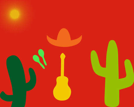 Set from a guitar, maracases, cactuses and sombreros on a orange background.  illustration. Mexico