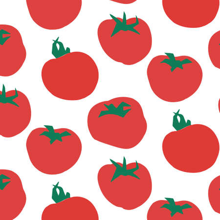 Seamless pattern of tomatoes.  illustration. Food wallpapers from vegetables. Stock Photo