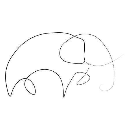 Elephant one line. Vector illustration. Isolated white background.  イラスト・ベクター素材
