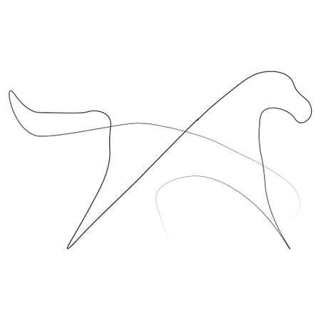 Horse animal one line. Vector illustration. Isolated white background.
