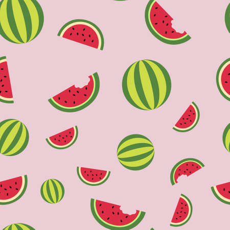 Lobules watermelon and whole watermelons pattern seamless. Vector illustration. Food wallpapers from fruit. Pink background.