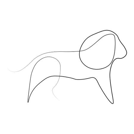 Line animal one line. Vector illustration. Isolated white background.
