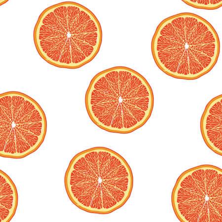 Grapefruit slice pattern seamless.  illustration. Food wallpapers from citrus fruit. Stock Photo