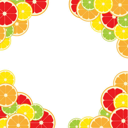 Frame citrus fruits square. Lemon, lime, orange grapefruit. Vector illustration