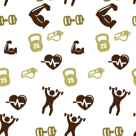Sports set pattern seamless. Vector illustration. Isolated white background.