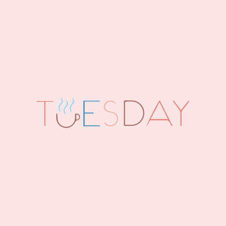 Tuesday Beautiful lettering.  illustration of the text. Gentle pink background. Stock Photo