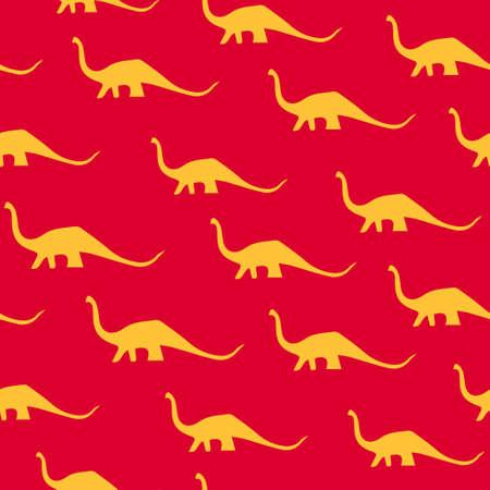 Dinosaur brachiosaurus silhouette pattern seamless.  illustration. Orange dinosaurs on red background.
